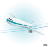 Vector airplane top view. Stock Photography
