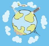 Vector airplane traveling around the globe vector illustration