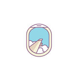 Vector airplane window porthole icon. Wing and clouds Stock Photography
