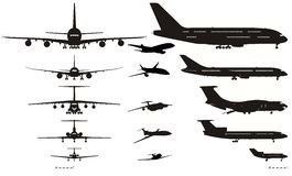 Vector airplanes silhouettes set Stock Photography