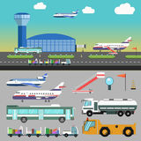 Vector airport illustration with airplane. Stock Image