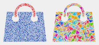 Vector Airport Shopping Bag Mosaic Icon of Triangle Items. Airport shopping bag collage icon of triangle elements which have various sizes and shapes and colors royalty free illustration