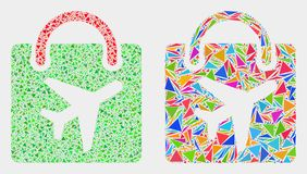 Vector Airport Shopping Bag Mosaic Icon of Triangle Items. Airport shopping bag mosaic icon of triangle items which have different sizes and shapes and colors vector illustration