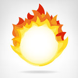 Vector aislado contexto del círculo de la llama del fuego Imagen de archivo libre de regalías