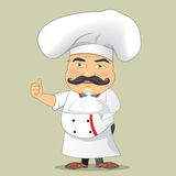 Vector aislado Illustrator del diseño de personaje de dibujos animados de Serving Food Realistic del cocinero del cocinero del ve Fotografía de archivo