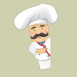 Vector aislado Illustrator del diseño de personaje de dibujos animados de Serving Food Realistic del cocinero del cocinero del ve Foto de archivo
