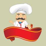 Vector aislado Illustrator del diseño de personaje de dibujos animados de Serving Food Realistic del cocinero del cocinero del ve Fotos de archivo