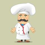 Vector aislado Illustrator del diseño de personaje de dibujos animados de Serving Food Realistic del cocinero del cocinero del ve Imagen de archivo