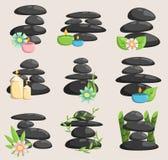 Vector aislado piedras y relajación del balneario aislados Las piedras apilan la terapia aislada del concepto del guijarro, belle Fotos de archivo libres de regalías
