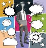 Vector al hombre con el ordenador portátil en su discurso del handsr y de la burbuja libre illustration