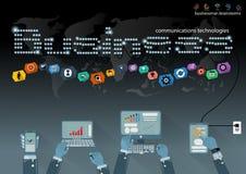 Vector al hombre de negocios con la tecnología de comunicación móvil, la tarea modernas del Tablet PC y del cuaderno, leveraging  Fotos de archivo