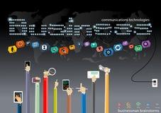 Vector al hombre de negocios con la tecnología de comunicación móvil, la tarea modernas del Tablet PC y del cuaderno, leveraging  Fotografía de archivo