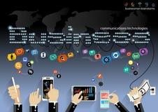 Vector al hombre de negocios con la tecnología de comunicación móvil, la tarea modernas del Tablet PC y del cuaderno, leveraging  Imagen de archivo libre de regalías