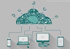 Vector al hombre de negocios con la tecnología de comunicación móvil, la tarea modernas del Tablet PC y del cuaderno, leveraging  Imagenes de archivo