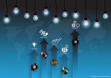 Vector al hombre de negocios en la trayectoria al éxito con una lámpara del mapa del mundo y un diseño plano de los iconos Imagenes de archivo