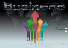 Vector al hombre de negocios que se inspira la trayectoria competitiva del negocio global y el diseño plano del éxito Fotografía de archivo