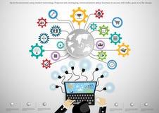 Vector al hombre de negocios usando la tecnología moderna, tarea del proyector, leveraging, negocio global de las comunicaciones  Foto de archivo libre de regalías