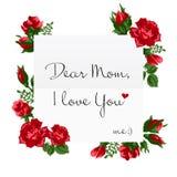 Vector al ilustrador de la tarjeta de felicitación para el día de la madre adornada con las flores Imágenes de archivo libres de regalías