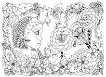 Vector al niño de la muchacha del zentangl del ejemplo con las pecas que sostienen una piruleta Garabatee la flor del marco, jard Fotografía de archivo libre de regalías