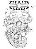 Vector al viejo marinero del zentangle que fuma un tubo, capitán, pescador, Foto de archivo libre de regalías