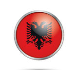 Vector Albanian flag Button. Albania flag in glass button style. Albania flag glass button style with metal frame Royalty Free Stock Photo
