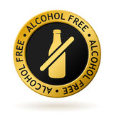 Vector alcohol free gold medal. Vector gold medal with symbol of alcohol free Stock Photos