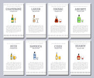 Vector alcohol list with icons for bar menu. Vodka wine whiskey tequila vermouth gin rum port. Brochure cafe restaurant Stock Photos