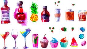 Vector alcohol and sweets. watercolor Royalty Free Stock Image