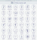 Vector Alcohol, Tea and coffee drinks outline icon set. Elegant thin line style design. Royalty Free Stock Photography