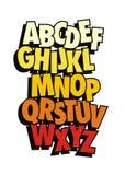 Vector alfabet Grappige stijldoopvont Stock Fotografie