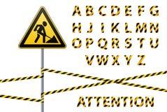 Vector alfabet Reeks gestreepte brieven in de vorm van een beschermende band Reparatie van de bouw van gevaarontwerp Vector illus Stock Fotografie