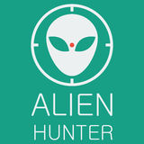 Vector alien hunter on green background Stock Images