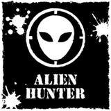 Vector alien hunter logo on black background Stock Images