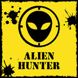 Vector alien hunter logo on red yellow Stock Photo