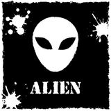 Vector alien logo on black background Stock Photography