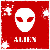 Vector alien logo on red background Royalty Free Stock Photo