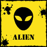 Vector alien logo on yellow background Stock Photography