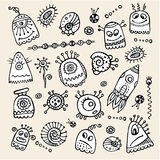 Vector aliens and monsters hand drawn set. Vector cartoon aliens and monsters hand drawn set Stock Image