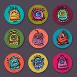 Vector aliens and monsters set. Vector cartoon flat aliens and monsters set Royalty Free Stock Image