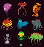 Vector aliens monsters set graphic mutant collection of colorful toy cute aliens monsters creature funny illustration Royalty Free Stock Images