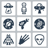 Vector aliens and ufo icons set. Vector isolated aliens and ufo icons set Stock Image