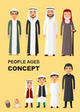 Vector - All age group of arab man family. Generations man. Stages of development people - infancy, childhood, youth, maturity, ol Stock Photos
