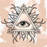 Vector All seeing eye pyramid symbol. Illumination tattoo. Vinta Royalty Free Stock Images