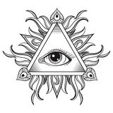 Vector All seeing eye pyramid symbol in tattoo engraving design. Royalty Free Stock Images