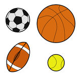 Vector - All type of balls. Featuring basketball, football, rugby and tennis balls stock illustration