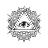 Vector allen die het symbool van de oogpiramide zien Tatoegering Design Wijnoogst han stock illustratie