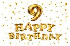 Vector alles Gute zum Geburtstag 9 Jahre Jahrestagsfreuden-Feier Illustration 3d mit glänzendem Gold steigt Freudenkonfettis für  Lizenzfreie Stockbilder