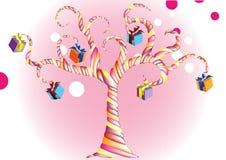 Vector alles Gute zum Geburtstagsüßigkeitsbaum mit einem bunten Geschenk Lizenzfreie Stockfotos