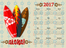 Vector Aloha calendar 2017 with surf boards Royalty Free Stock Photos