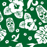 Vector aloha seamless pattern. Green and white Vector Illustration